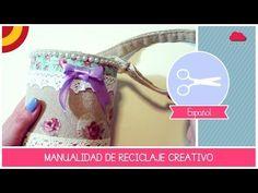 Manualidad RECICLAJE CREATIVO: como reciclar un bote de cafe en un bote SHABBY&CHIC - YouTube