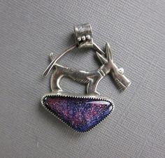 Purple Dog Dichroic Glass and Sterling Silver by TheKiwaHirsuta