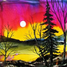 sundown by Jewel-buhay using alcohol inks on a tile