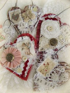 Handmade Valentine Vintage Valentine Ornament by QueenBe on Etsy