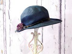 Vintage Straw Hat Fedora Teal Blue / Velvet Ribbon Floral Millinery / Cottage Chic Photo Prop Shabby Decor Designer Jan Leslie 1950s by SueEllensFlair on Etsy