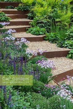 GAP Gardens - Gravel steps with rusted corten steel risers edged . Sloped Backyard Landscaping, Sloped Garden, Modern Landscaping, Steel Garden Edging, Garden Paving, Steel Edging, Hillside Garden, Terraced Garden, Steep Gardens