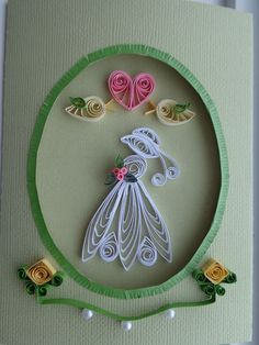 Quilled Wedding, Bride, Bridal Shower, Engagement Card by Karen Miniaci. Quilling Supplies from 'Quilled Creations'