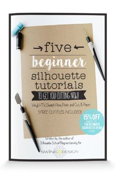 Not sure what's considered a beginner Silhouette CAMEO project? The Five Beginner Silhouette Tutorials mini guide will get you started on the right foot with your cutting machine. This book walks you through a beginner Silhouette project on each: vinyl, htv, print and cut, sketch pens and paper - AND includes free cut files for each - available as an instant digital download or in paperback Plotter Silhouette Cameo, Silhouette Cutter, Silhouette Curio, Silhouette Cameo Machine, Silhouette Vinyl, Silhouette Projects, Silhouette Design, Shilouette Cameo, Silhouette School Blog