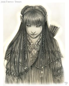 Halfling female with long braided hair carrying arrows on her back. by Taurina.deviantart.com on @deviantART.