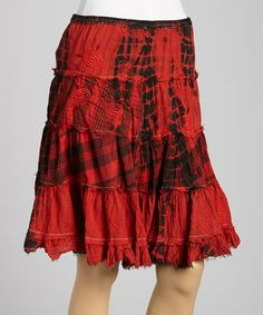 This Red Flower Plaid Peasant Skirt is perfect! #zulilyfinds