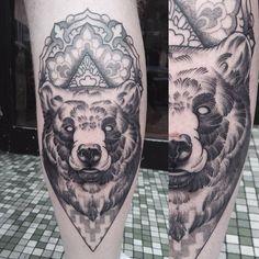 Blackwork neotraditional bear tattoo by Krofty at The Tattooed Arms. geometry. Mandala. Dotshaded. Creepy.