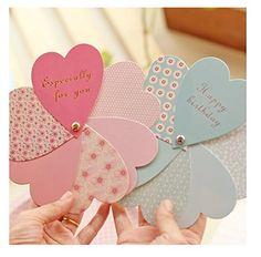 ハート型 お誕生日 結婚 祝福 メッセージカード (2種セット) 招待状 感謝状 二次会 告白にも (ハート型メッセージカード)