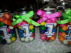 Baby Girl's First Birthday Celebration! #MasonJars #PolkaDots #GumBalls