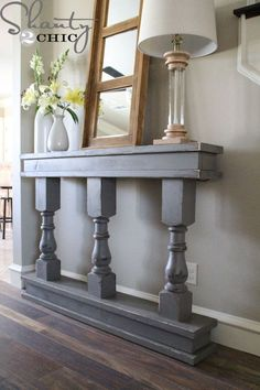 DIY Console Table from 3 leg columns