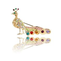 FASHION PLAZA Rose Gold Finish Multi Color Austrian Crystal Peacock Brooch Pin