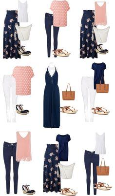 Summer capsule wardrobe pink and navy
