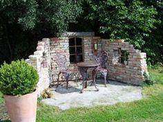 garten sichtschutz ziegel zaun rattan möbel   sitzecken, Garten Ideen