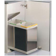 Cubo basura ecologico rectangular Inox 14L + 14 L - Automatico