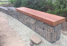 small stepped gabion garden wall with seat http://www.gabion1.com