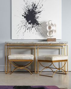 Cynthia Rowley for Hooker Furniture Serendipity Console & Brando Ottoman