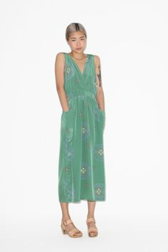 No. 6 Button Back Dress in Basil Ikat