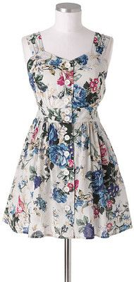 Floral button-front dress.