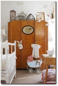 Beautiful Burl Wood Art Deco Furniture In A Baby's Room