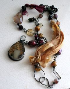 Mixed Media Necklace Sterling Silver Fiber by Decadence2Jewelry, $275.00
