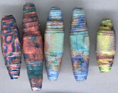 Paper beads made from fractal patterns printed on a high rag content paper. as a kit or a project sheet
