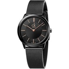Calvin Klein Stainless Steel Mesh Band Watch ($280) ❤ liked on Polyvore featuring men's fashion, men's jewelry, men's watches, black, mens mesh watches and mens stainless steel watches