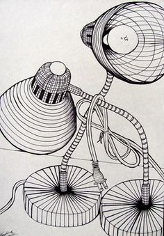 Cross Contour Line Drawing, Pen and Ink - Conway High School Art Project