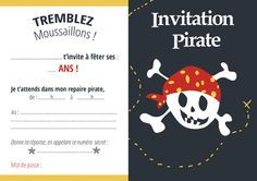 invitation pirate gratuite, sympa la petite tête de mort qui ne fait pas peur ! Parfait pour les petits Magic Birthday, Pirate Birthday, Pirate Party, 4th Birthday, Pirate Invitations, Diy Invitations, Birthday Invitations, Happy B Day, A 17