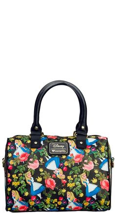 Alice in Wonderland Floral Pebble Crossbody Duffle Bag | Blame Betty