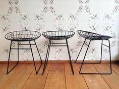 ≥ 3x zgan Pastoe wire chair Cees Braakman retro vintage 50 60 - Krukken en…