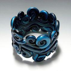 SALE Polymer Clay Bracelet  Poseidon wide cuff by ClayGauged, $32.00