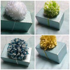 Pack of 10 Pom Poms, Ten Pom Poms, Pom Pom Decoration, Present Decoration, Yarn Gift Decoration, Pom Pom on a String, Pom Pom Gift Wrap