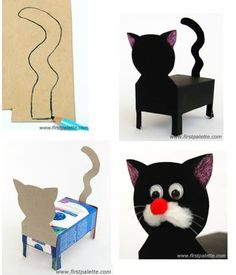 Crafts with cardboard boxes; Valentine Day Boxes, Cat Valentine, Valentines Diy, Valentine Activities, Valentine Crafts For Kids, Cat Crafts, Animal Crafts, American Flag Blanket, Diy Valentine's Box