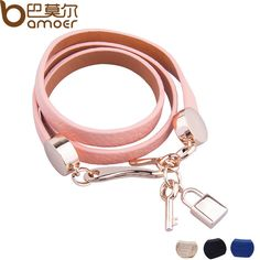 BAMOER Luxury Gold Plated Genuine Pink Leather Bracelet Three Circle Jewelry for Women PI0327