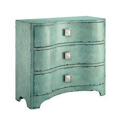Madison Park Fulton Crackle Bombe Chest in Blue - Olliix your home a designer showroom style at an affordable price with our distressed blue accent chest. No assembly Features: Modern/Contemporary Life StyleFrame Composit Portland, 3 Drawer Storage Unit, Storage Shelves, Accent Chest, Beach Cottage Style, Shabby Chic Furniture, Blue Furniture, Furniture Storage, Crackle Furniture