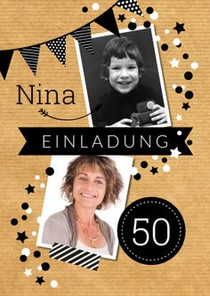 Trendy Einladung mit viel Schwarzweiß und 2 Fotos, beispielsweise für ein Kinderfoto!