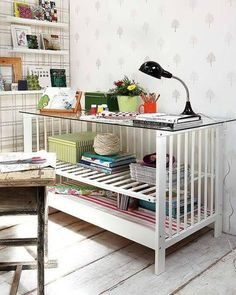 A baby crib repurposed to becoming a storage unit...we are doing this...maybe not quite the same...but doing it!!