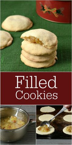 These pineapple raisin filled cookies are a Christmas tradition. It's a fun holiday dessert recipe to make with kids. Everyone loves these fruity cookies! Fun Holiday Desserts, Small Desserts, Holiday Baking, Holiday Recipes, Christmas Baking, Holiday Ideas, Real Food Recipes, Cookie Recipes, Dessert Recipes