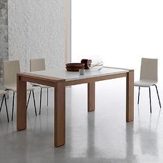 Beautiful, white and wooden 'Manchester' table. Minimalist and simple. My Italian Living. Modern Dining Table, Dining Bench, Dining Tables, Contemporary Furniture, Furniture Design, Minimalist, Santa Lucia, Living Room, Simple