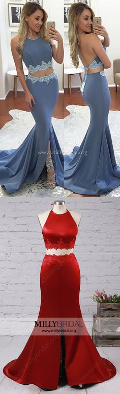 Two Piece Prom Dresses,Blue Prom Dresses,Halter Prom Dresses Silk-like Satin, Lace Prom Dresses Trumpet/Mermaid Sparkly Prom Dresses, Simple Prom Dress, Prom Dresses For Teens, Elegant Prom Dresses, Prom Dresses 2018, Beautiful Prom Dresses, Formal Evening Dresses, Prom Gowns, Dance Dresses