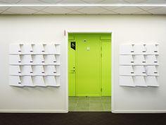 Svensk Travsport Offices by Note Design Studio, Stockholm office healthcare Note Design Studio, Notes Design, Visual Merchandising, Wall Storage, Locker Storage, Interior Definition, Branding, Coworking Space, Design Furniture