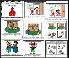 Making good choices class book and pocket chart activity Russell - it's made for kinder - you might like this! Classroom Rules, Classroom Behavior, Kindergarten Classroom, Classroom Management, Behavior Management, Class Management, Classroom Organization, Classroom Ideas, Kindergarten Reading