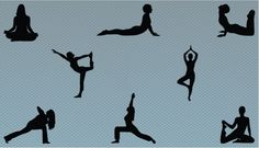 8 different yoga silhouette positions, performed by a woman is available in this set. Thispracticing yoga poses in silhouette comes in vector format and illustrator form .EPS files.Great for any website or graphic design projects.