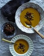 Butternut Squash Soup with Cranberries and Pumpkin Seeds