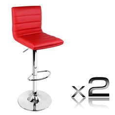 Set Of 2 Pu Leather Kitchen Bar Stools Red High Back
