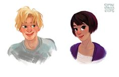 Willem and Allyson aka Lulu from Gayle Forman's Just One Year, drawn by Simini Blocker. @PenguinTeen #yalit