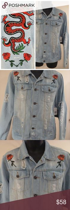 d531412ddf6 Distressed Denim Jacket Embroidery Dragon Roses Embroidery Red Dragon Roses Blue  Denim Jean Jacket Brooklyn Cloth