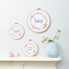 A sweet and original personalised print framed in an embroidery hoop.The hoop can be personalised to include any word, name or short sentence of your choice. Available in 2 sizes - small or large. Embroidery Monogram, Embroidery Hoop Art, Hand Embroidery Designs, Embroidery Ideas, Wooden Hoop, Embroidery For Beginners, Baby Gifts, New Baby Products, Unique Gifts