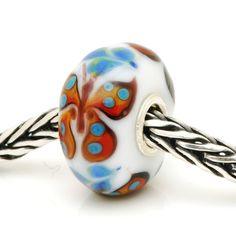 TBU4158R trollbeads Unique/OOAK glass bead (trollbeadsheaven) #buttefly #rare #orange #bluespotted #white