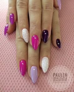 Glitter nail art designs have become a constant favorite. Almost every girl loves glitter on their nails. Have your found your favorite Glitter Nail Art Design ? Beautybigbang offer Glitter Nail Art Designs 2018 collections for you ! Multicolored Nails, Pink Nail Designs, Colourful Nail Designs, Almond Nails Designs Summer, Colourful Nails, Easter Nail Designs, Colorful, Trendy Nail Art, Super Nails